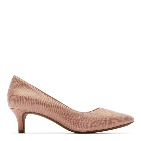 Rockport Rose Pink Metallic Snake Leather Pointed Toe Kalila Heels