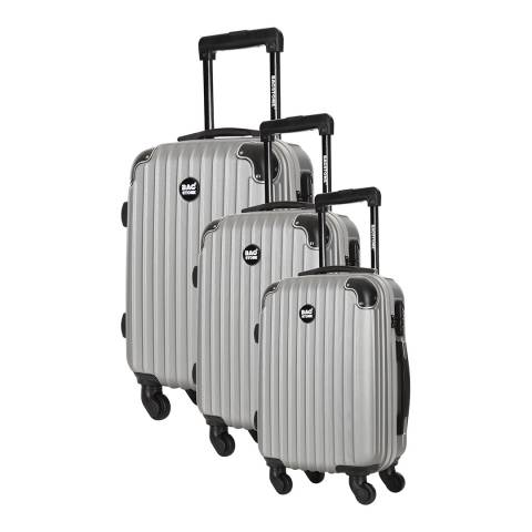 Bagstone Set of 3 Silver Spinner Suitcases S/M/L