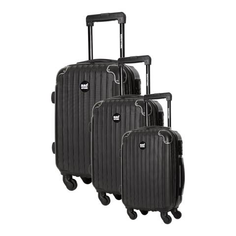 Bagstone Set of 3 Black Spinner Suitcases S/M/L