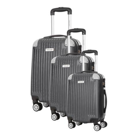 Travel One Set of 3 Grey Spinner Suitcases 45/55/65cm