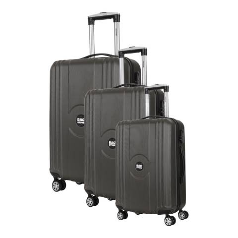 Bagstone Set of 3 Grey Spinner Suitcases S/M/L