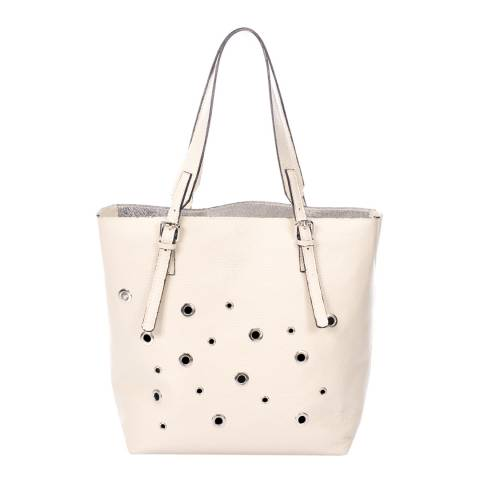 Krole Cream Eyelet Leather Shoulder Bag