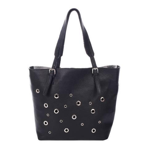 Krole Black Eyelet Leather Shoulder Bag