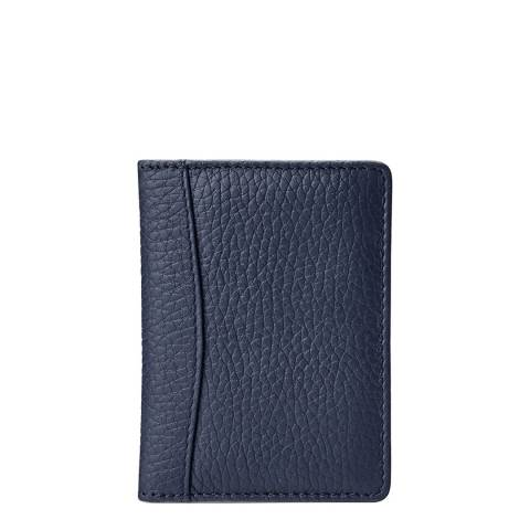 Aspinal of London Navy Pebble Leather Curved Double Fold Credit Card Case