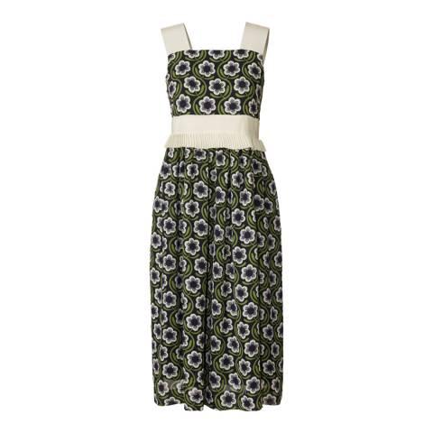 Orla Kiely Navy Poly Georgette Strappy Frill Pleat Dress