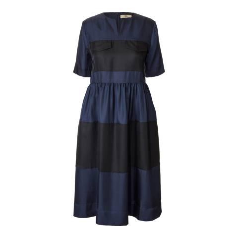 Orla Kiely Navy Silk Twill T-Shirt Dress