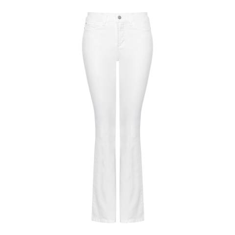 NYDJ White Farrah Flared Cotton Stretch Jeans