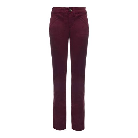 NYDJ Burgundy Syrah Reese Cotton Blend Relaxed Chinos