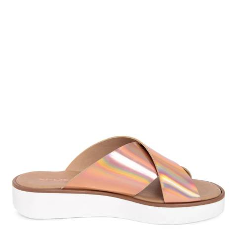 Ri-Belle Rose Gold Holographic Cross Over Sandals
