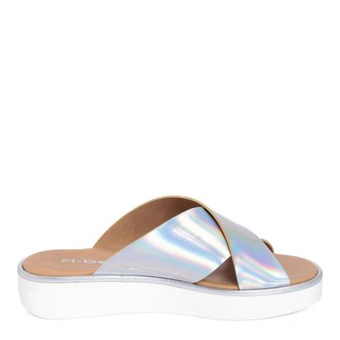 Ri-Belle Silver Holographic Cross Over Sandals