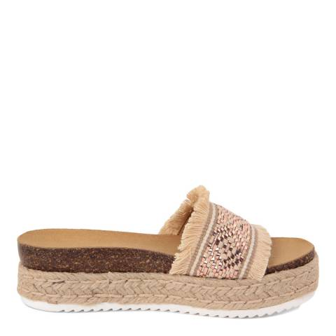 Ri-Belle Beige And Copper Raffia Flatform Sandals