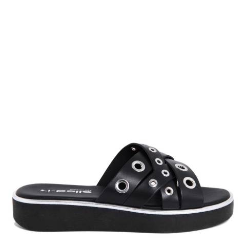 Ri-Belle Black Leather Silver Eyelet Sandals
