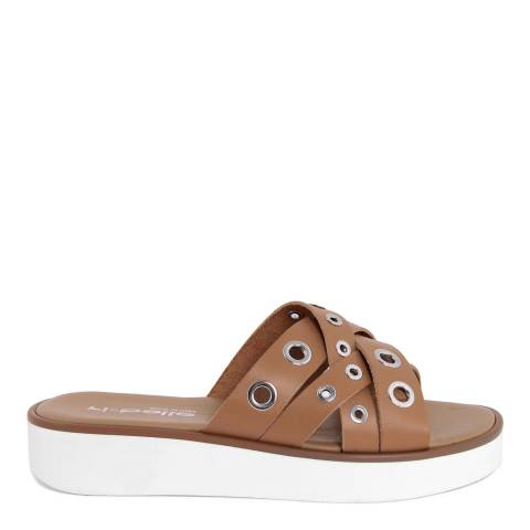 Ri-Belle Tan Leather Silver Eyelet Sandals