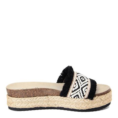 Ri-Belle Black And White Aztec Print Rafia Flatform Sandals