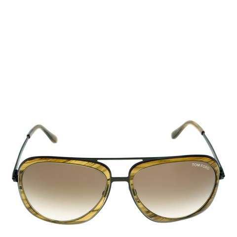 Tom Ford Men's Andy Yellow with Black Arms/Graduated Green Sunglasses 59mm