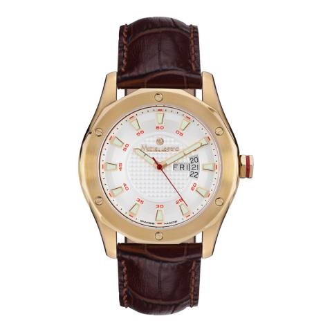 Mathieu Legrand Men's Gold/Brown Leather Dodecagone Watch