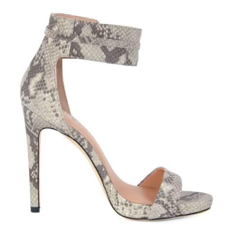 Halston Heritage Snake Print Leather Ellen Ankle Strap Sandals