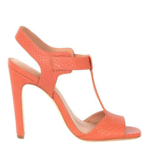 Halston Heritage Orange Suede Vera T Bar Sandals
