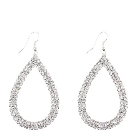 Black Label by Liv Oliver Silver Double Row Embellished Pear Drop Earrings