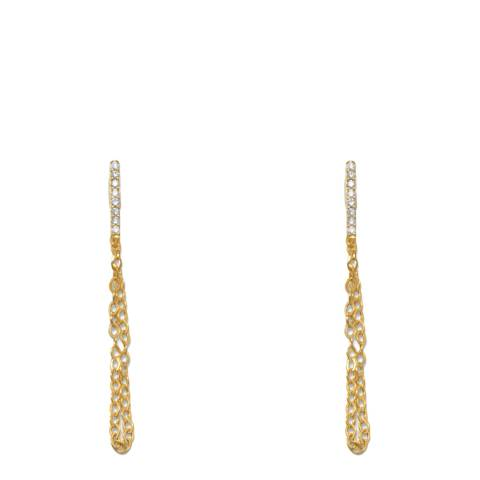 Black Label by Liv Oliver Gold Cz And Chain Drop Earring
