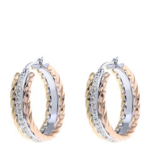 Black Label by Liv Oliver Tri Colour Embellished Hoop Earrings