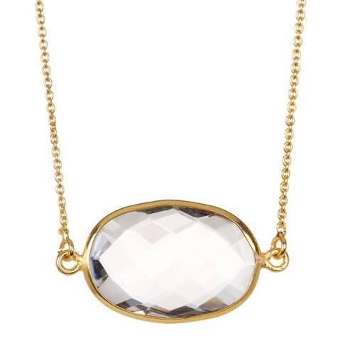 Black Label by Liv Oliver Gold Crystal Quartz Oval Necklace
