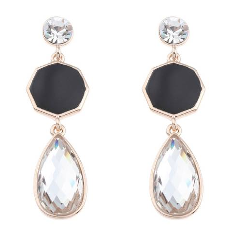 Black Label by Liv Oliver Rose Gold Onyx and Crystal Geometric Pear Drop Earrings