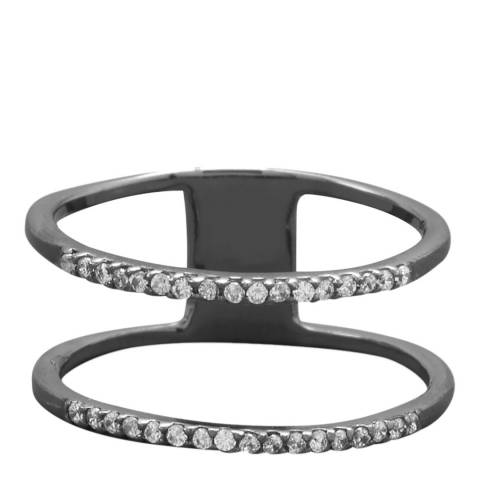 Black Label by Liv Oliver Black/Silver Double Zirconia Ring