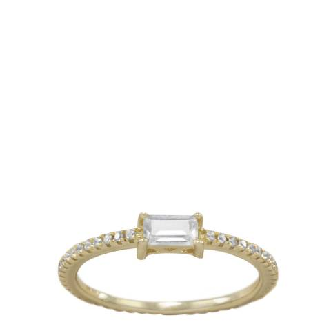 Black Label by Liv Oliver Gold Emerald Band Ring