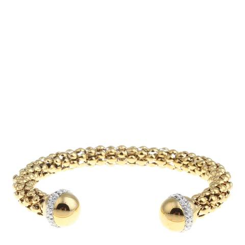 Black Label by Liv Oliver Gold And Crystal Open Cuff Bangle