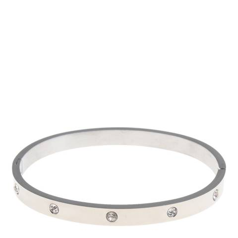 Black Label by Liv Oliver Silver Embellished Bangle