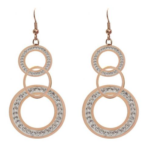 Black Label by Liv Oliver Rose Gold Multi Ring Crystal Drop Earrings