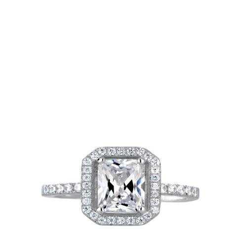 Black Label by Liv Oliver Silver Emerald Cut Halo Ring