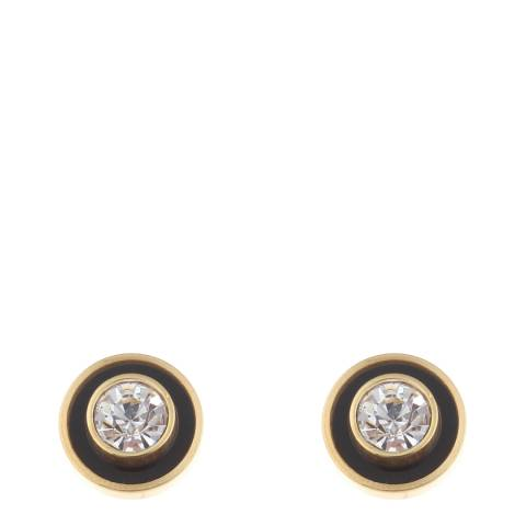 Black Label by Liv Oliver Gold Zirconia And Onyx Bezel Stud Earrings