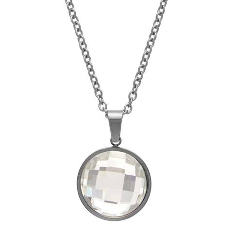 Black Label by Liv Oliver Clear Faceted Crystal Disc Necklace
