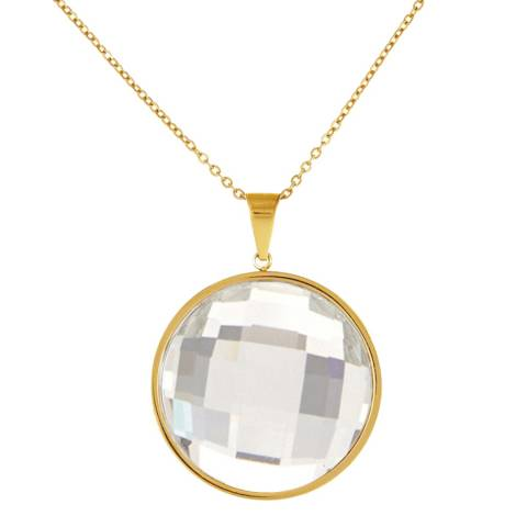 Black Label by Liv Oliver Gold Faceted Crystal Disc Necklace
