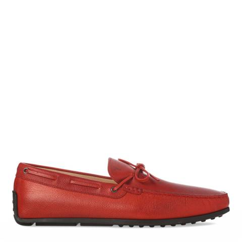 Tod's Men's Red Leather City Gommino Driving Shoes