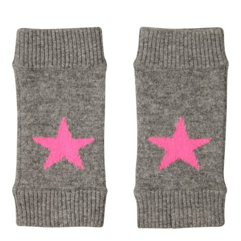 Laycuna London Grey Marl/Pink Cashmere Star Mittens