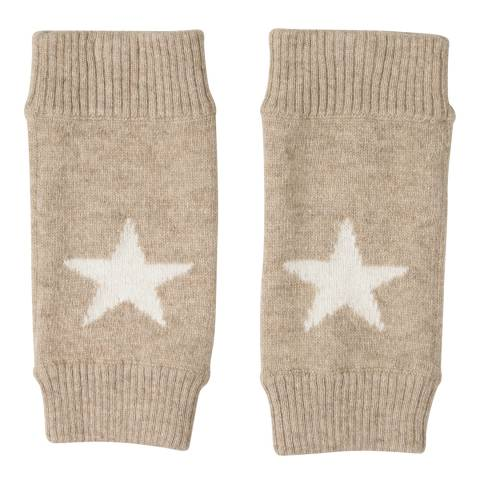 Laycuna London Taupe/Winter White Cashmere Star Mittens