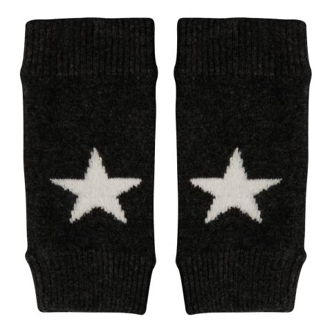 Laycuna London Charcoal Black/Winter White Cashmere Star Mittens