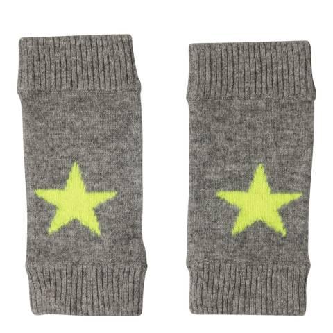 Laycuna London Grey Marl/Yellow Cashmere Star Mittens