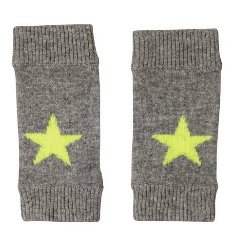 Laycuna London Grey Marl/Yellow Cashmere Star Mittens