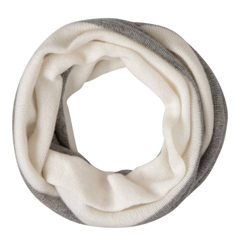 Laycuna London Grey Marl/Winter White Cashmere Snood