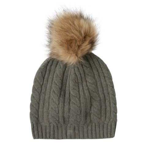 Laycuna London Khaki Cashmere Cable Knit Faux Fur Bobble Hat