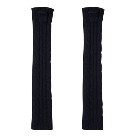 Laycuna London Navy Cashmere Cable Knit Long Wrist Warmers