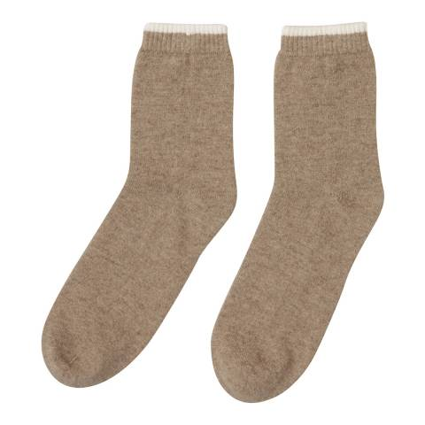 Laycuna London Taupe/Winter White Cashmere Socks
