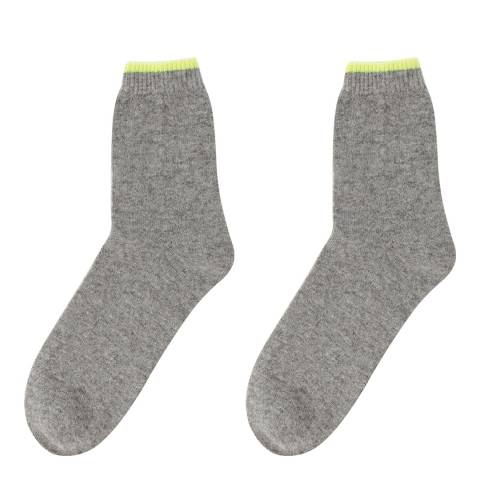 Laycuna London Grey/Yellow Cashmere Socks
