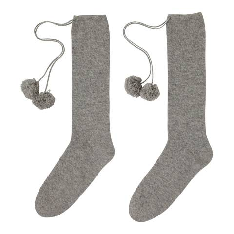 Laycuna London Grey Marl Pom Pom Cashmere Socks