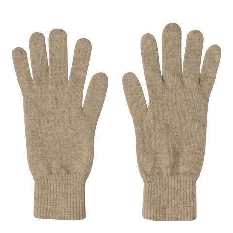Laycuna London Taupe Ribbed Short Cashmere Gloves