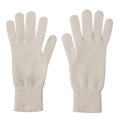 Laycuna London Winter White Ribbed Short Cashmere Gloves